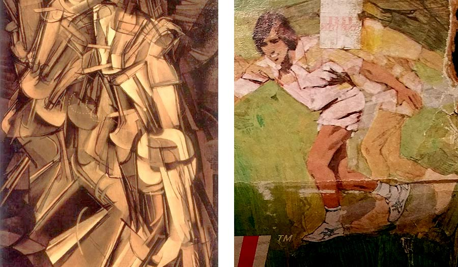Comparing the illustration on a Wham-O Trac Ball box to Marcel Duchamp's Nude Descending a Staircase