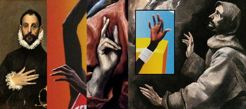 A basketball card featuring Manute Bol showing his hands next to hands from paintings by El Greco