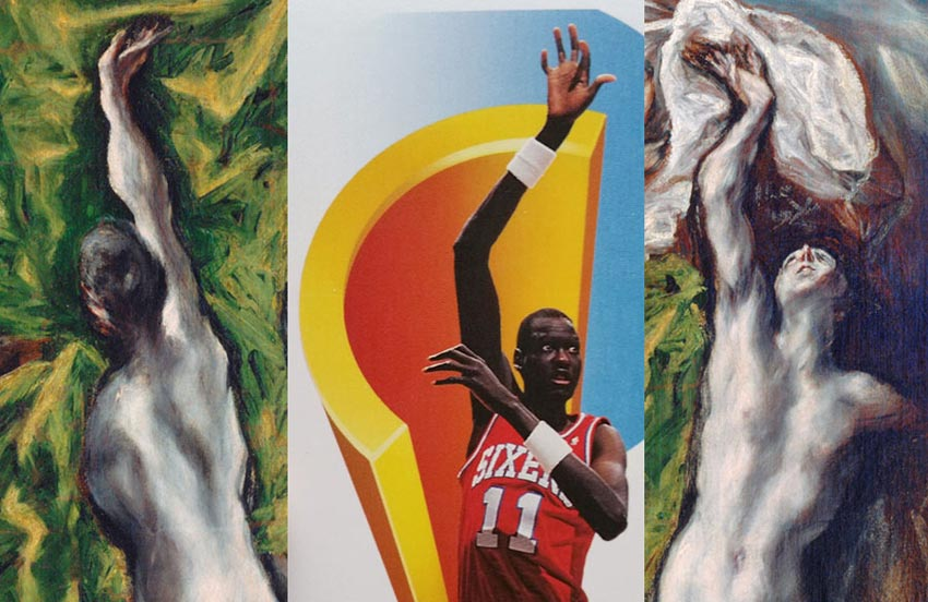 a basketball card of Manute Bol and paintings by El Greco