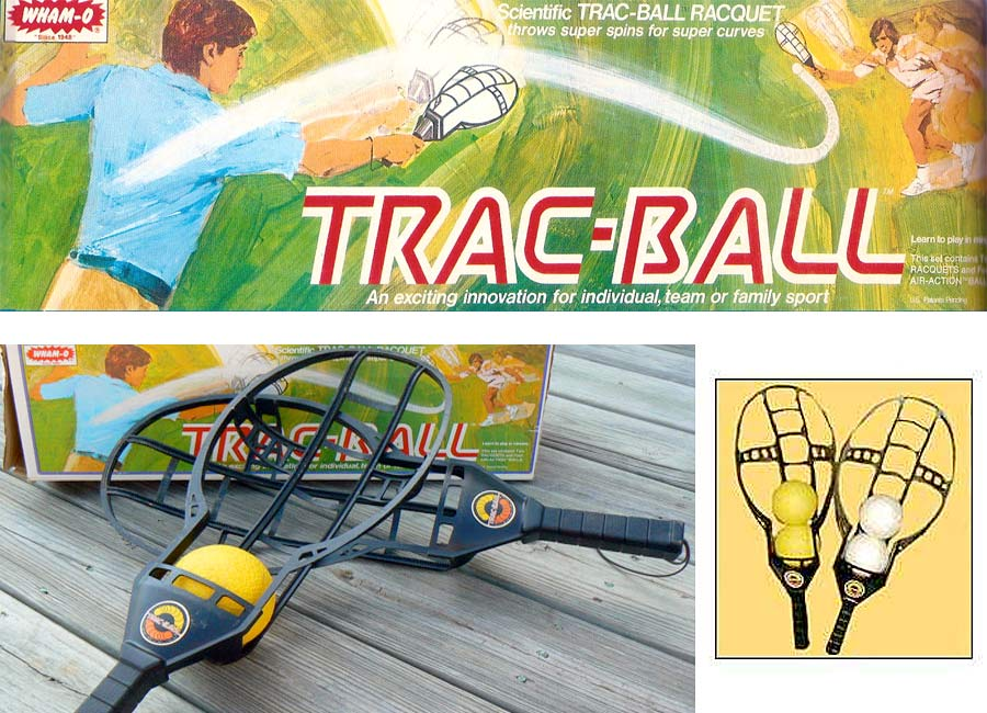 Wham-O Trac Ball set, introduced in the mid-to-late 1970s, a backyard game similar to jai alai