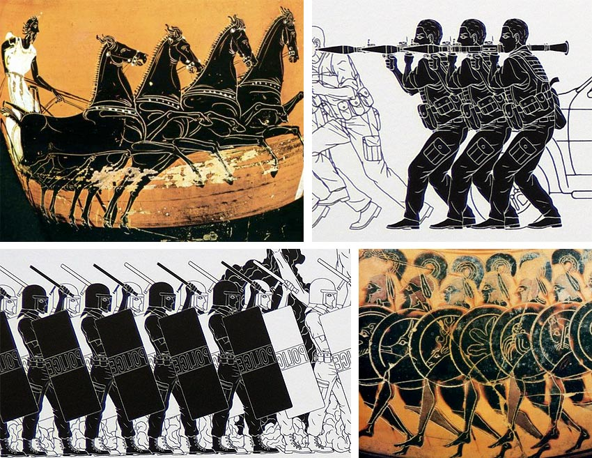 Comparison between Ai Weiwei wallpaper and Greek black figure painting