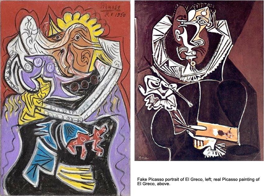 Fake Picasso painting of El Greco next to the real one