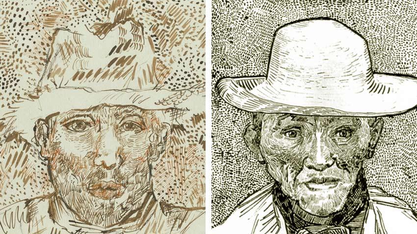 Van Gogh drawings, one fake, one real