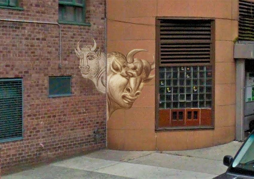Picasso minotaur street art in the Bronx