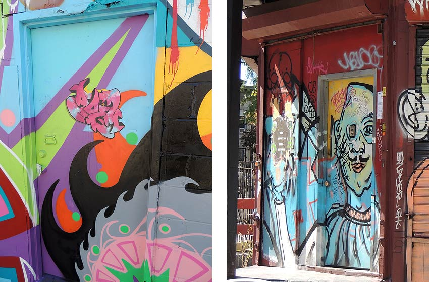 doors in Bushwick Brooklyn covered with street art and graffiti & Artistic Doors | Painted doors in NYC | Street art on doors