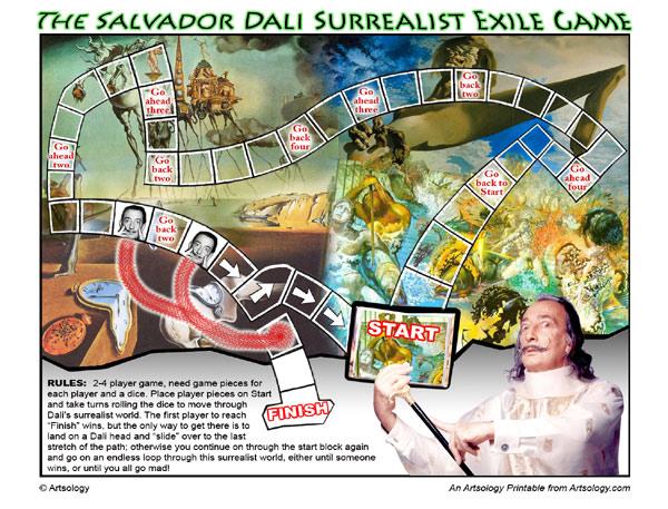 The Salvador Dali Surrealist Exile Game | Print and Play Art