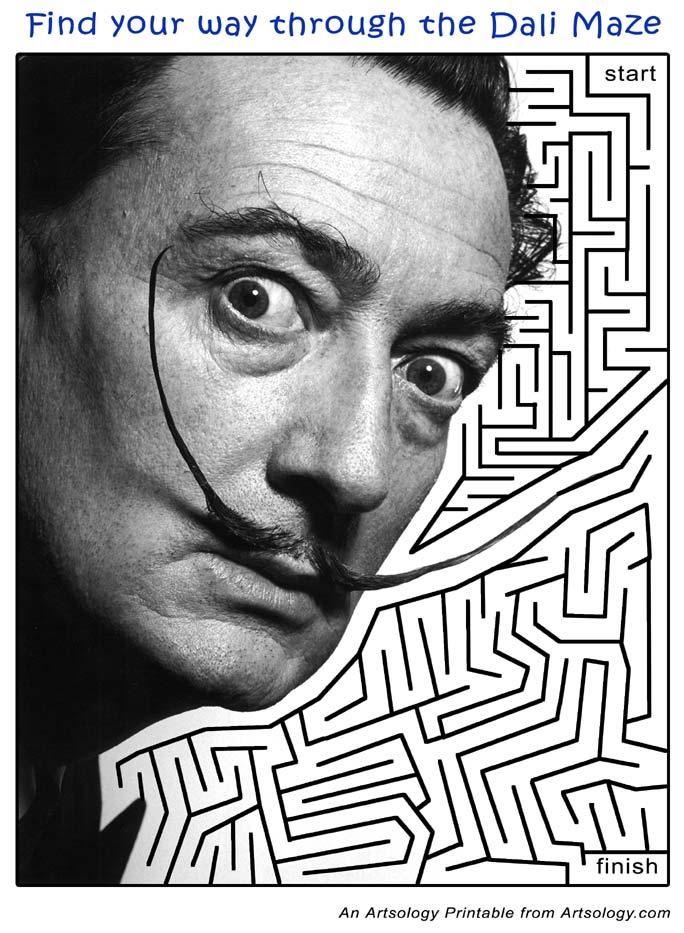 Salvador Dali Maze | Printable Art Games for Kids